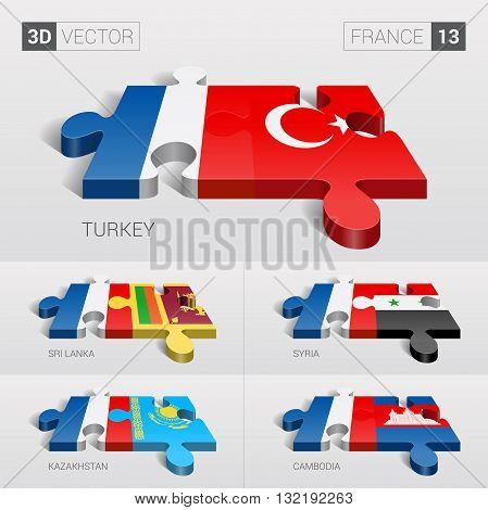 France and Turkey, Sri Lanka, Syria, Kazakhstan, Cambodia Flag. 3d vector puzzle. Set 13.