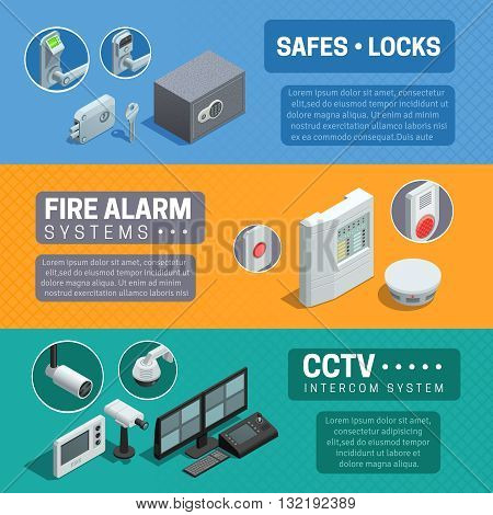Home security system description 3 horizontal isometric banners set with cctv and fire alarm abstract isolated vector illustration