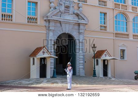 Guard On Duty At Residence Of Prince Of Monaco, Europe