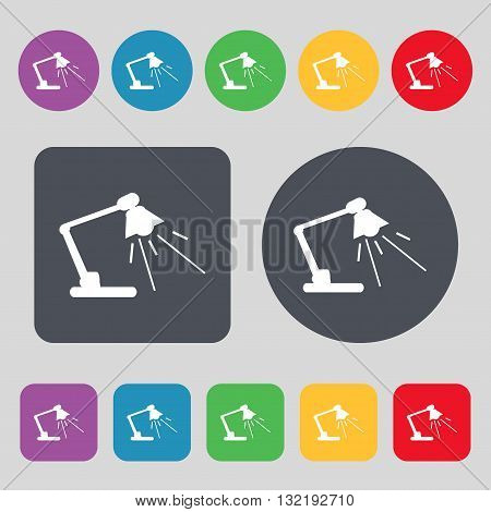 Reading-lamp Icon Sign. A Set Of 12 Colored Buttons. Flat Design. Vector