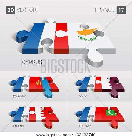 France and Cyprus, Mongolia, Qatar, Bahrain, Maldives Flag. 3d vector puzzle. Set 17.