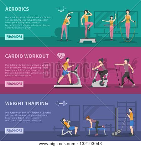 Different kinds of fitness gym training horizontal banners with cardio aerobics and weight training flat vector illustration