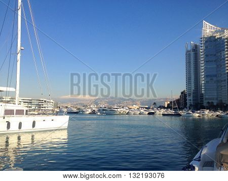 Beirut, Lebanon - January 04, 2016: A view of the beautiful Marina in Zaitunay Bay in Beirut, Lebanon. A very modern, high end and newly developed area where yachts are embarked and it's perfect for a waterfront promenade.