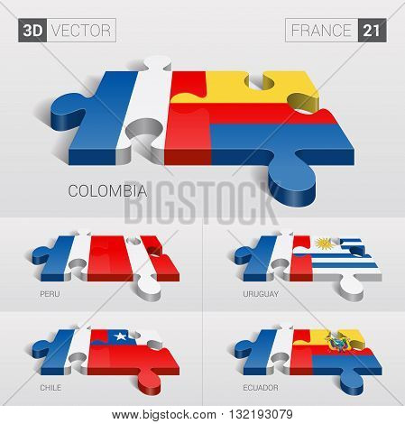 France and Colombia, Peru, Uruguay, Chile, Ecuador Flag. 3d vector puzzle. Set 21.