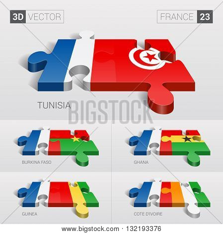 France and Tunisia, Burkina Faso, Ghana, Guinea, Cote d'Ivoire Flag. 3d vector puzzle. Set 23.