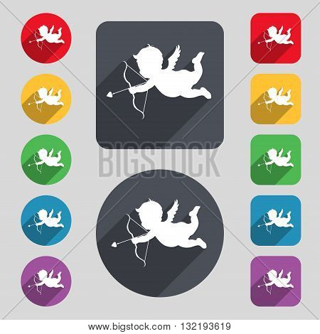 Cupid Icon Sign. A Set Of 12 Colored Buttons And A Long Shadow. Flat Design. Vector