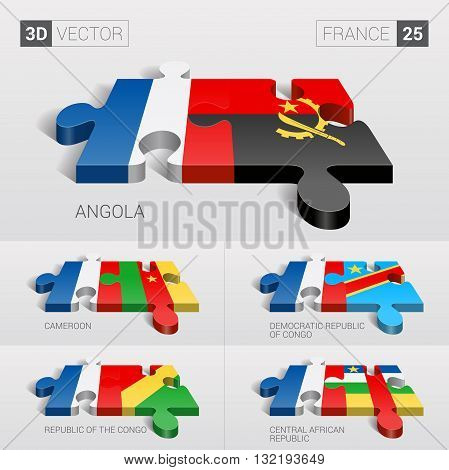 France and Angola, Cameroon, Democratic Republic of Congo, Republic of the Congo, Central African Republic Flag. 3d vector puzzle. Set 25.