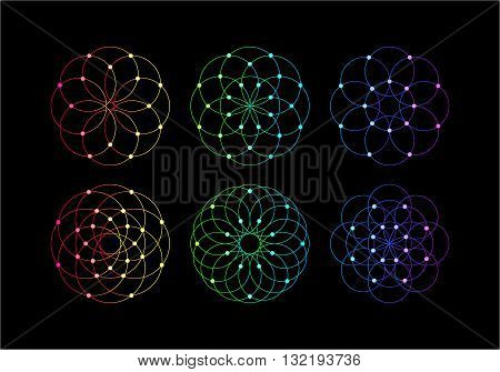 Abstract Round Symmetrical Guilloches. Vector Decorative Circle Patterns. Mystic Cosmic Design Elements.