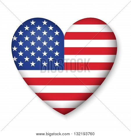 American United States Flag in glossy heart button of icon. USA emblem isolated on white background. National concept sign. Independence Day Symbol. 4 July freedom patriotic banner with pride color
