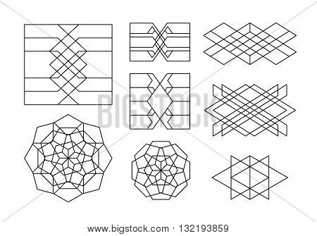 Abstract Linear Geometric Shapes Collection. Alchemy Mystery Symbols. Vector Tibal Geometric Ornaments.