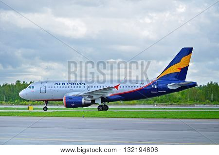 ST PETERSBURG RUSSIA - MAY 11 2016. VP-BQK Donavia Airbus A319-111 airplane is riding on the runway after landing in Pulkovo International airport