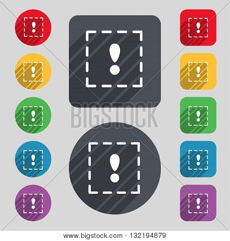 The Exclamation Point In A Square Icon Sign. A Set Of 12 Colored Buttons And A Long Shadow. Flat Des