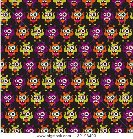 Cute monster pattern. Cartoon character illustration on black background.