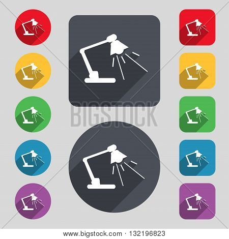 Reading-lamp Icon Sign. A Set Of 12 Colored Buttons And A Long Shadow. Flat Design. Vector