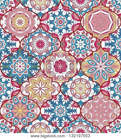 Vector ethnic colorful bohemian pattern in pastel colors with big abstract flowers. Geometric background with Arabic, Indian, Moroccan, Aztec motifs. Ornate print with mandalas within clipping mask