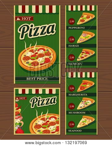 Whole pizza and slices of pizza and the ingredients. Pepperoni Hawaiian Margherita Mexican Seafood Capricciosa. Isolated vector retro vintage illustration for poster menus logotype brochure