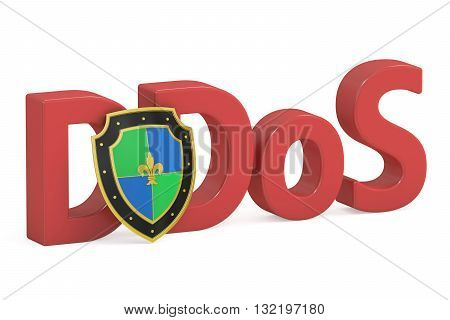 DDOS concept with shield 3D rendering  isolated on white background