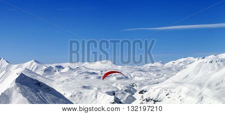 Panoramic View On Sky Gliding In Caucasus Mountains