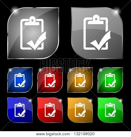 Document Grammar Control, Test, Work Complete Icon Sign. Set Of Ten Colorful Buttons With Glare. Vec