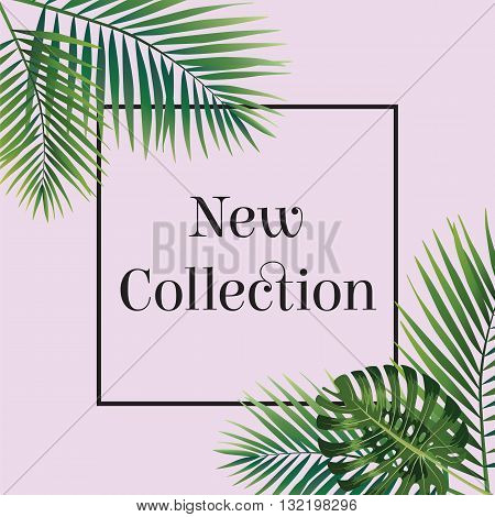 Palm leaf. New collection poster. Web banner or poster for e-commerce, on-line cosmetics shop, fashion and beauty shop, store. Vector illustration. Eps10