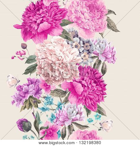 Vintage vector floral seamless border, Bouquet of peonies and wild flowers, Watercolor botanical natural peonies Illustration. Summer floral peonies greeting card