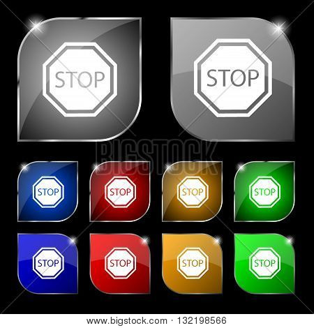 Stop Icon Sign. Set Of Ten Colorful Buttons With Glare. Vector