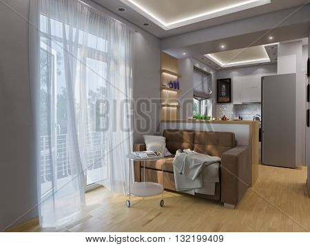 3D Rendering Living Room And Kitchen Interior Design.