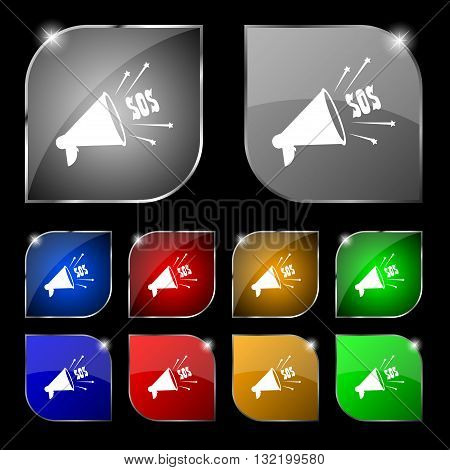 Sos Web Speaker Icon Sign. Set Of Ten Colorful Buttons With Glare. Vector