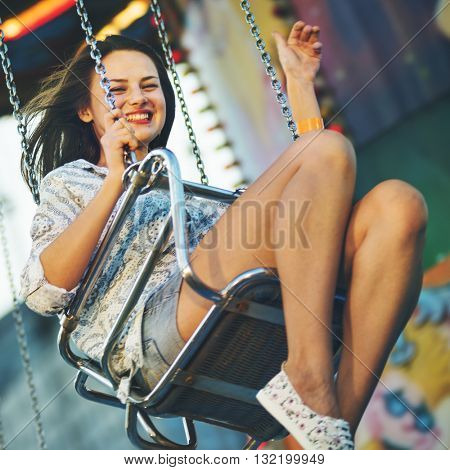 Swing Spinning Ride Amusement Park Play Action Concept