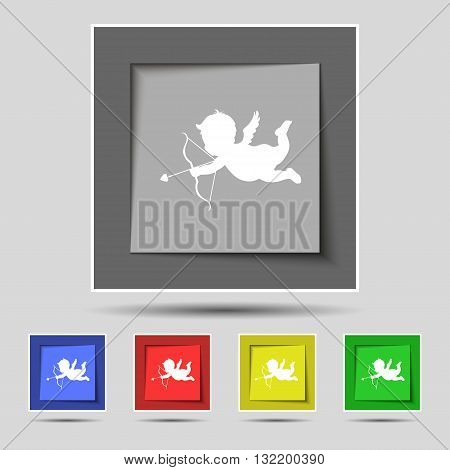 Cupid Icon Sign On Original Five Colored Buttons. Vector
