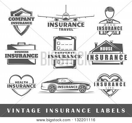 Set of insurance labels. Elements for design on the insurance theme. Collection of insurance symbols: shield lifebuoy protection. Modern labels of insurance. Vector illustration
