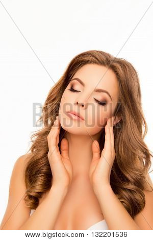 Portrait Of Relaxed Sensitive Beautiful Woman With Closed Eyes