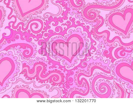 Abstract colorful purple vector seamless pattern with figured hearts and lines. Endless vector texture