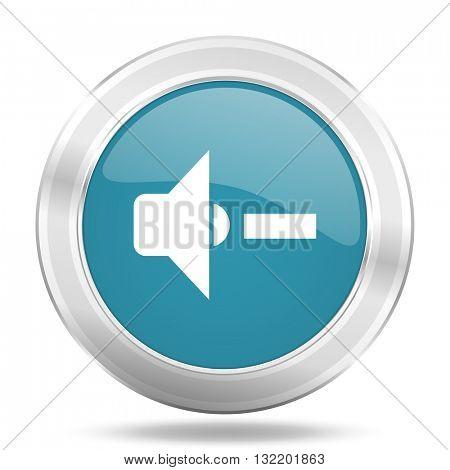 speaker volume icon, blue round metallic glossy button, web and mobile app design illustration