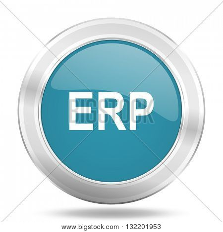 erp icon, blue round metallic glossy button, web and mobile app design illustration