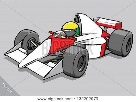 child's funny cartoon formula race car vector illustration