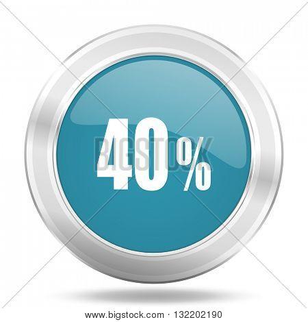 40 percent icon, blue round metallic glossy button, web and mobile app design illustration