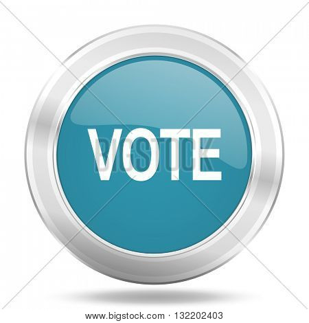 vote icon, blue round metallic glossy button, web and mobile app design illustration