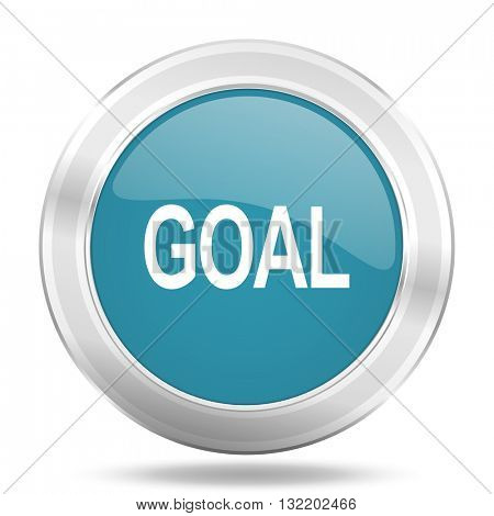 goal icon, blue round metallic glossy button, web and mobile app design illustration