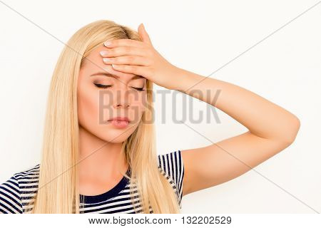 Tired Sad  Young Woman Suffering From Headache