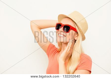 Portrait Of Positive Young Woman In Summer Hat And Spectacles
