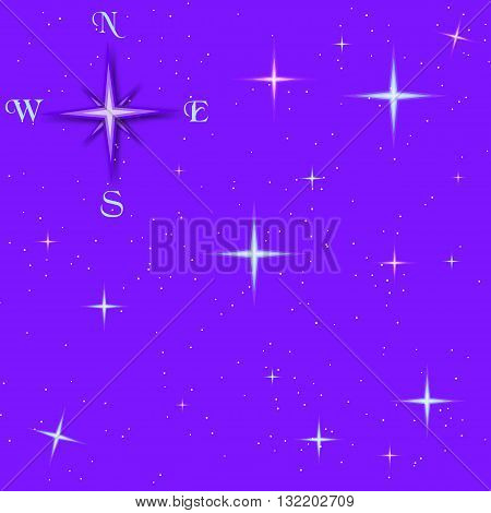 Old compass and the predawn starry sky, vector composition