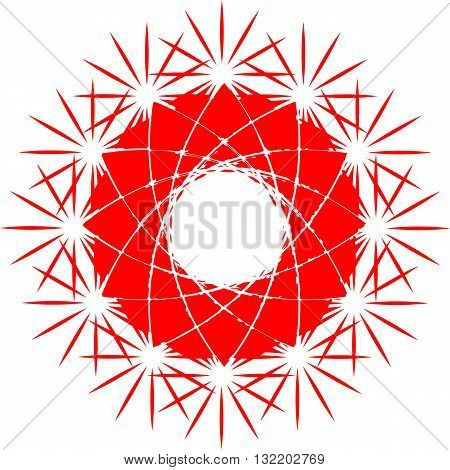 Red circle. Esoteric symbol of the sun. Vector abstract illustration