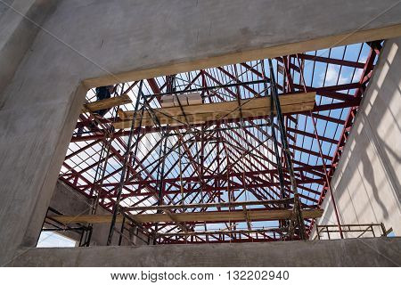 Construction Site Worker On Scaffolding
