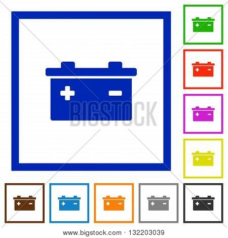 Set of color square framed accumulator flat icons