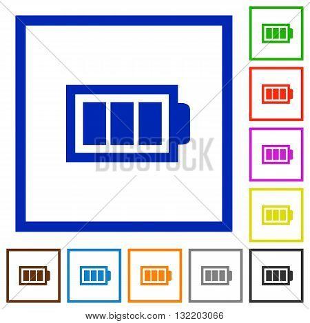 Set of color square framed full battery flat icons