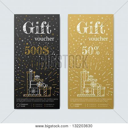 Gift Voucher in gold. Gold and black banner. Gold Card text with elements of stars candy. Gift voucher for shopping in magazinet vip exclusive. Discount coupon or certificate