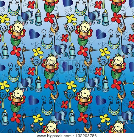 Seamless pattern for baby. On the blue with gradient  background are baby in feeding bottle, toys,flower, rattle, bib, blue elephant, yellow stork and hearts.