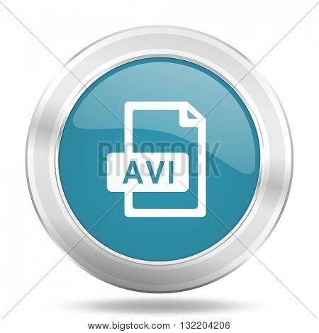 avi file icon, blue round metallic glossy button, web and mobile app design illustration