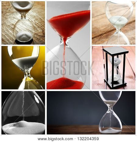 Collage of different hourglasses